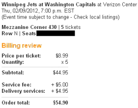 Caps Jets ticket order on StubHub
