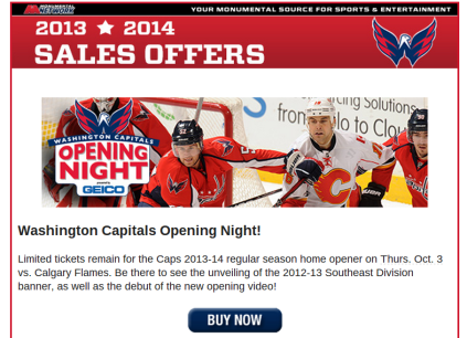 Caps opening night 2013-14 tickets
