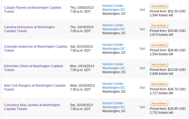 Caps tickets on StubHub